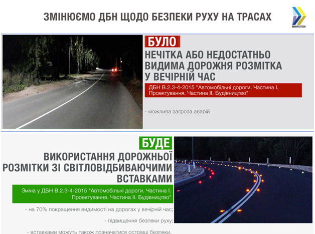 Теперь вместо краски, разметку дороги будут проводить светоотражающими вставками.